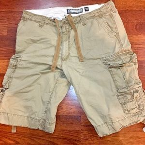 Loose Cargo Khaki Long Men's Shorts